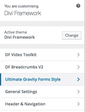 Gravity Forms Plugin Theme Customiser