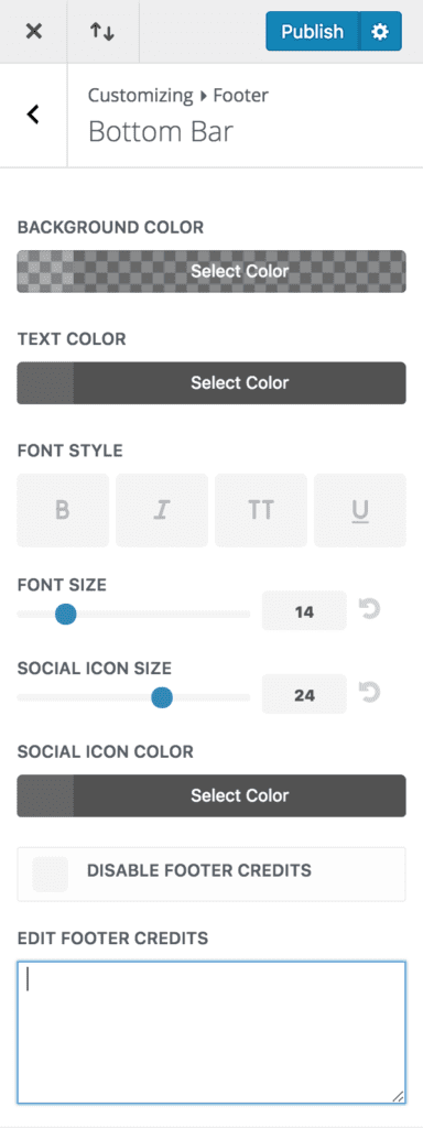 The Divi Bottom Bar Settings for Divi Footer Credits