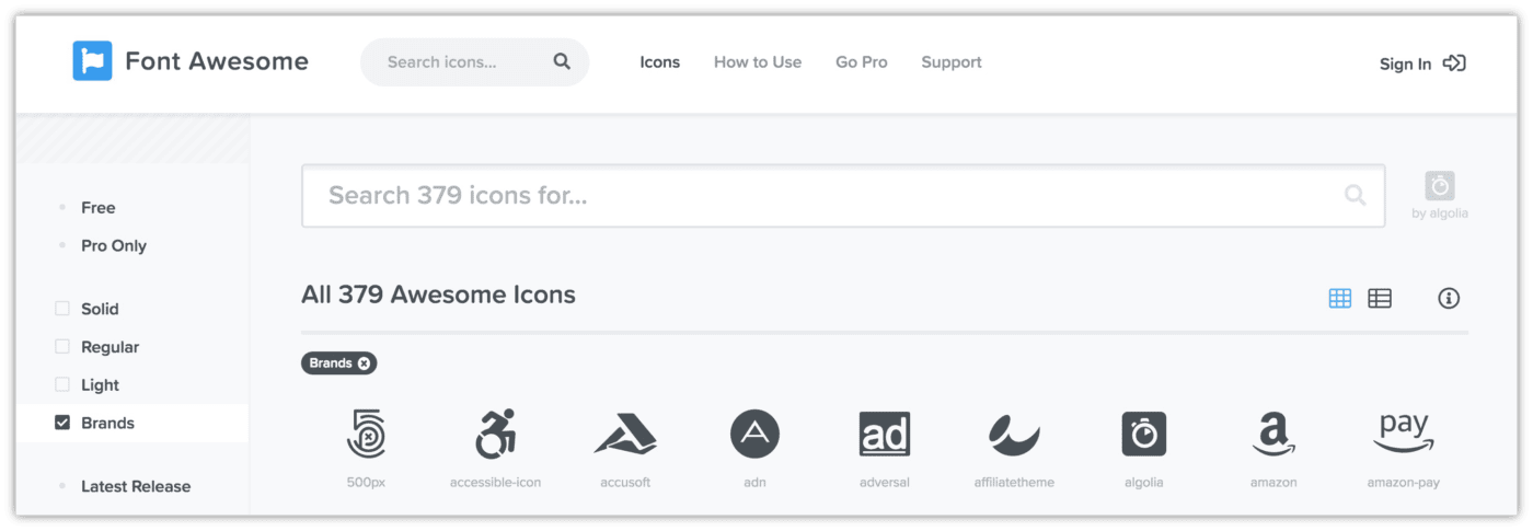Font Awesome Brand Social Icons